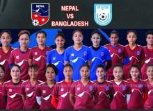 नेपाली राष्ट्रिय महिला फुटबल टोली  बङ्गलादेशसँग दोस्रो मैत्रीपूर्ण खेल खेल्दै